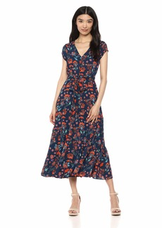 Maggy London Women's Floral Novelty Tiered fit and Flare Navy/red