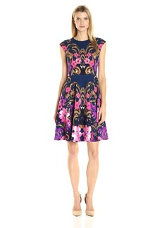 Maggy London Women's Flower Scroll Cross Hatch Texture Fit and Flare
