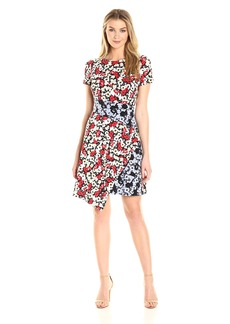 Maggy London Women's Fractured Pansy Print Jersey Shift Dress