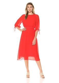 Maggy London Women's Gauze Chiffon Smocked Waist Dress red/Orange