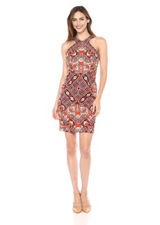 Maggy London Women's Global Puzzle Linen Sleeveless Novelty Sheath Soft White/red hot