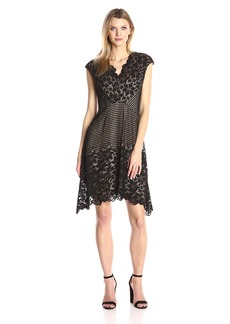 Maggy London Women's Grid Flower Border Lace Fit and Flare
