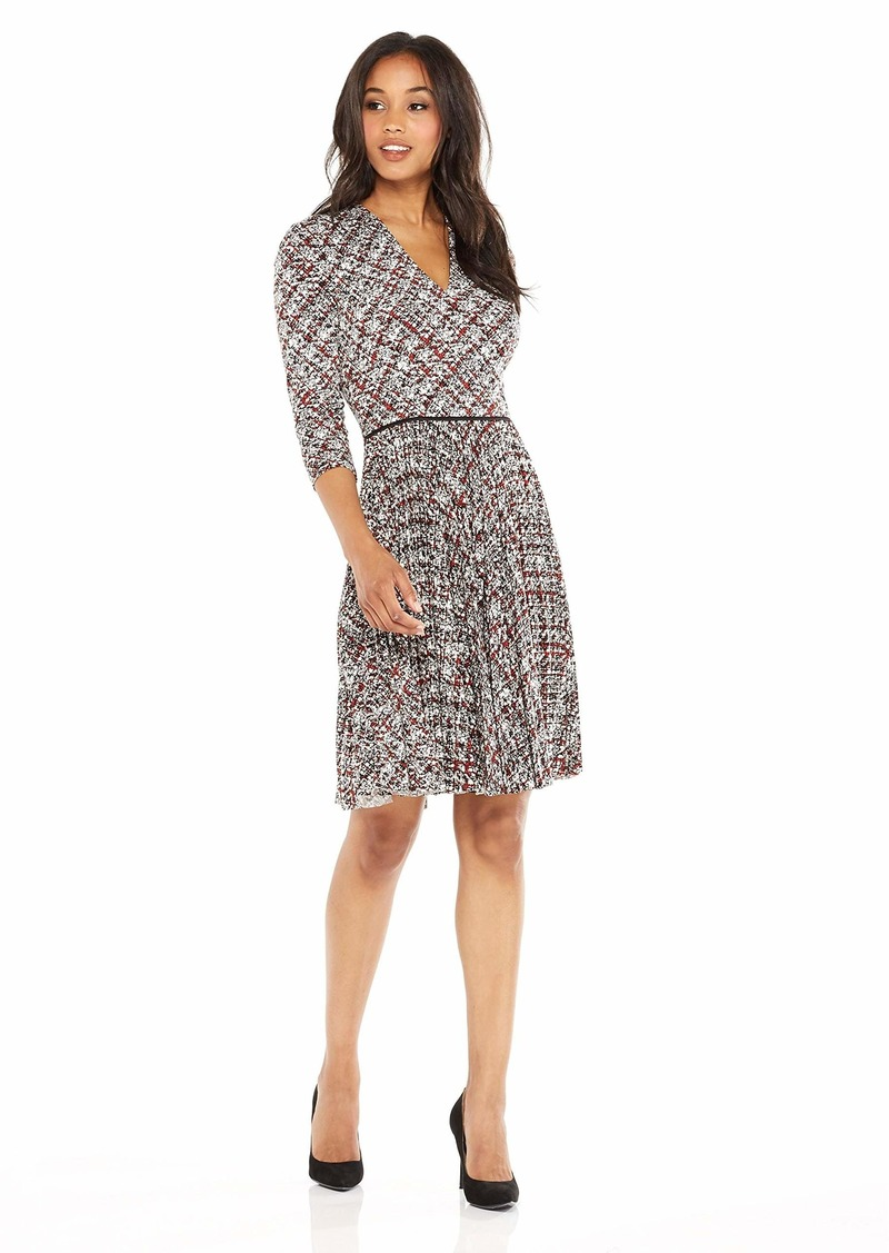 Maggy London Women's Grid Plaid Printed Jersey Fit and Flare with Pleated Skirt Soft White/red