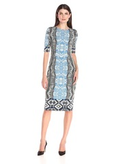Maggy London Women's Ikat Jersey Sheath Dress with Elbow Sleeves