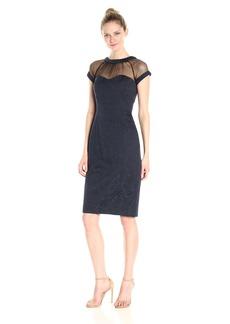Maggy London Women's Illusion Cap-Sleeve Crepe Dress