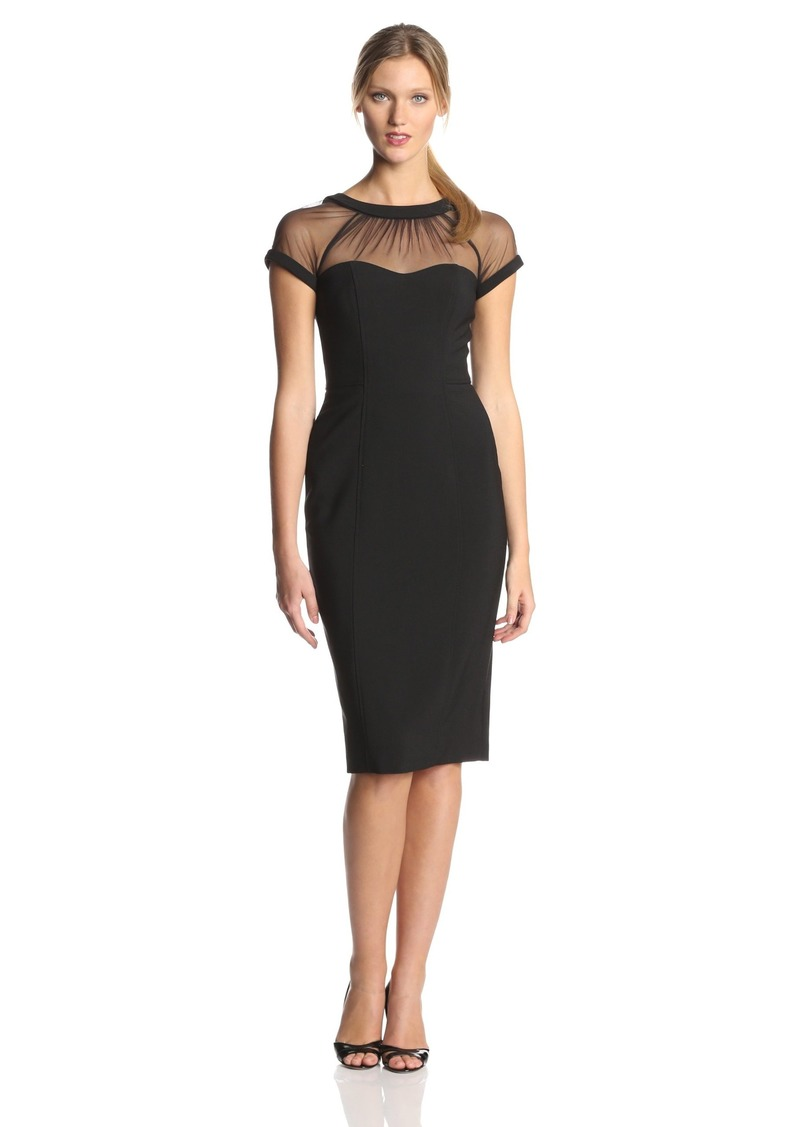 Maggy London Women's Illusion Cap-Sleeve Crepe Dress