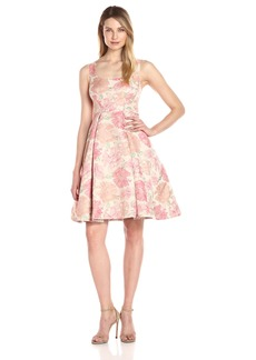 Maggy London Women's Jacquard Bloom Fit and Flare