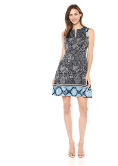Maggy London Women's Japanese Dot Flower Printed Scuba Fit and Flare