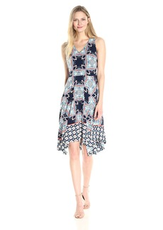 Maggy London Women's Jersey V-Neck Fit and Flare with Uneven Hem