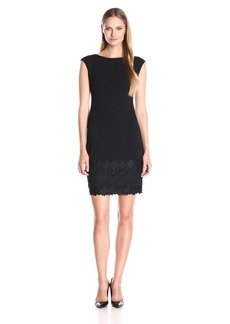 Maggy London Women's Lace Trimmed Crepe Shift Dress
