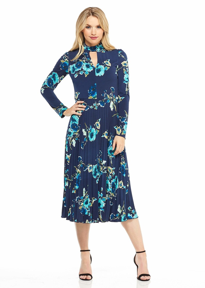 Maggy London Women's Line Flower Printed Jersey fit and Flare with Pleated Skirt