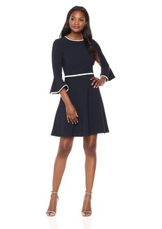 Maggy London Women's Long Sleeve Crepe Fit & Flare