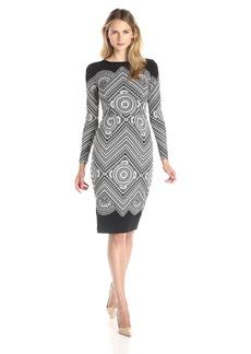 Maggy London Women's Long Sleeve Round Neck Sheath Dress