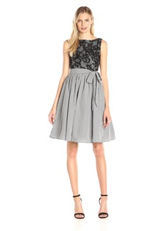 Maggy London Women's Mini Check Gingham Fit-and-Flare Dress with Lace Bodice
