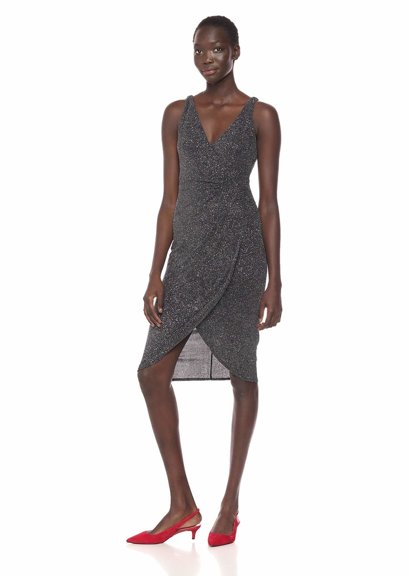 Maggy London Women's Multi Glitter Draped Front Cocktail Dress Silver