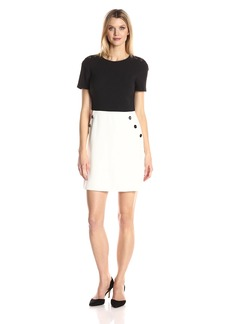Maggy London Women's Mystic Crepe Button Trim Fit and Flare