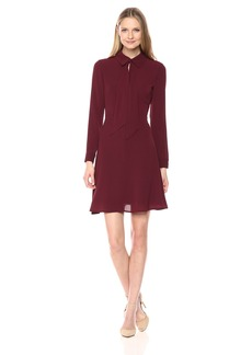 Maggy London Women's Novelty Crepe Dress with Tie Neck Detail