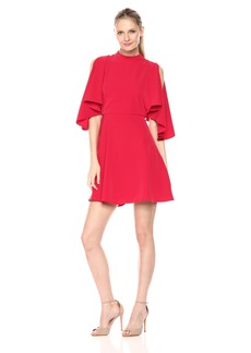 Maggy London Women's Novelty Crepe Fit and Flare with Cold Shoulder