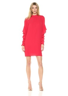 Maggy London Women's Novelty Crepe Long Sleeve Ruffle Dress