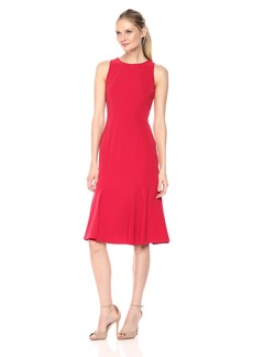 Maggy London Women's Novelty Crepe Sleeveless Fit and Flare Indian red