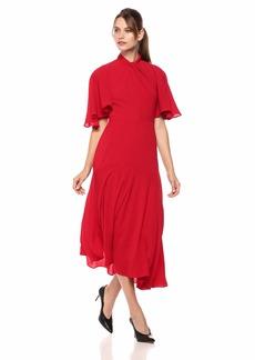 Maggy London Women's Novelty Crepe Twist Neck Dress with unevent Hem Detail