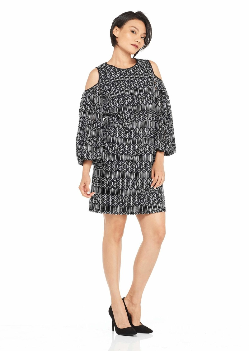 Maggy London Women's Novelty Geo Lace Cold Shoulder Dress