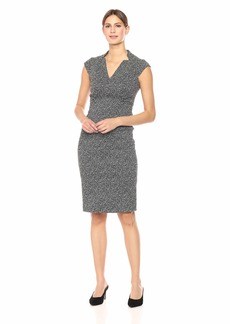 Maggy London Women's Novelty Jacquard Cap Sleeve Sheath