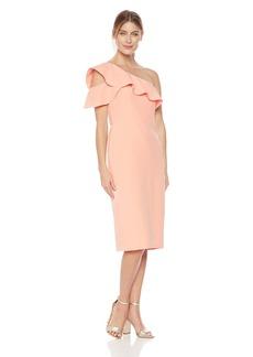 Maggy London Women's One Shoulder Dream Crepe Ruffle Dress