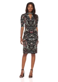 Maggy London Women's Painted Scroll Crepe Scuba Sheath with Elbow Sleeve