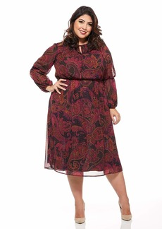 Maggy London Women's Paisley Chiffon Jewel Neck fit and Flare