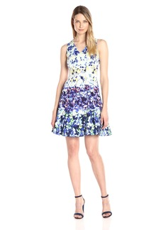 Maggy London Women's Pansy Meadow Stripe Cotton Fit and Flare