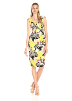 Maggy London Women's Peony Bouquet Printed Crepe Sheath Dress Yellow/Grey