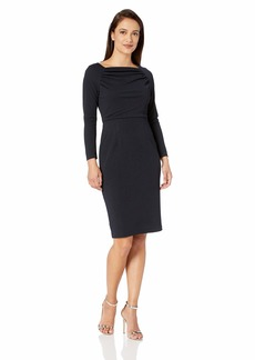 Maggy London Women's Petite Solid Novelty Crepe Sheath with Sleeve  14P
