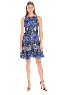 Maggy London Women's Placed Flower Shield Printed Lace Fit and Flare