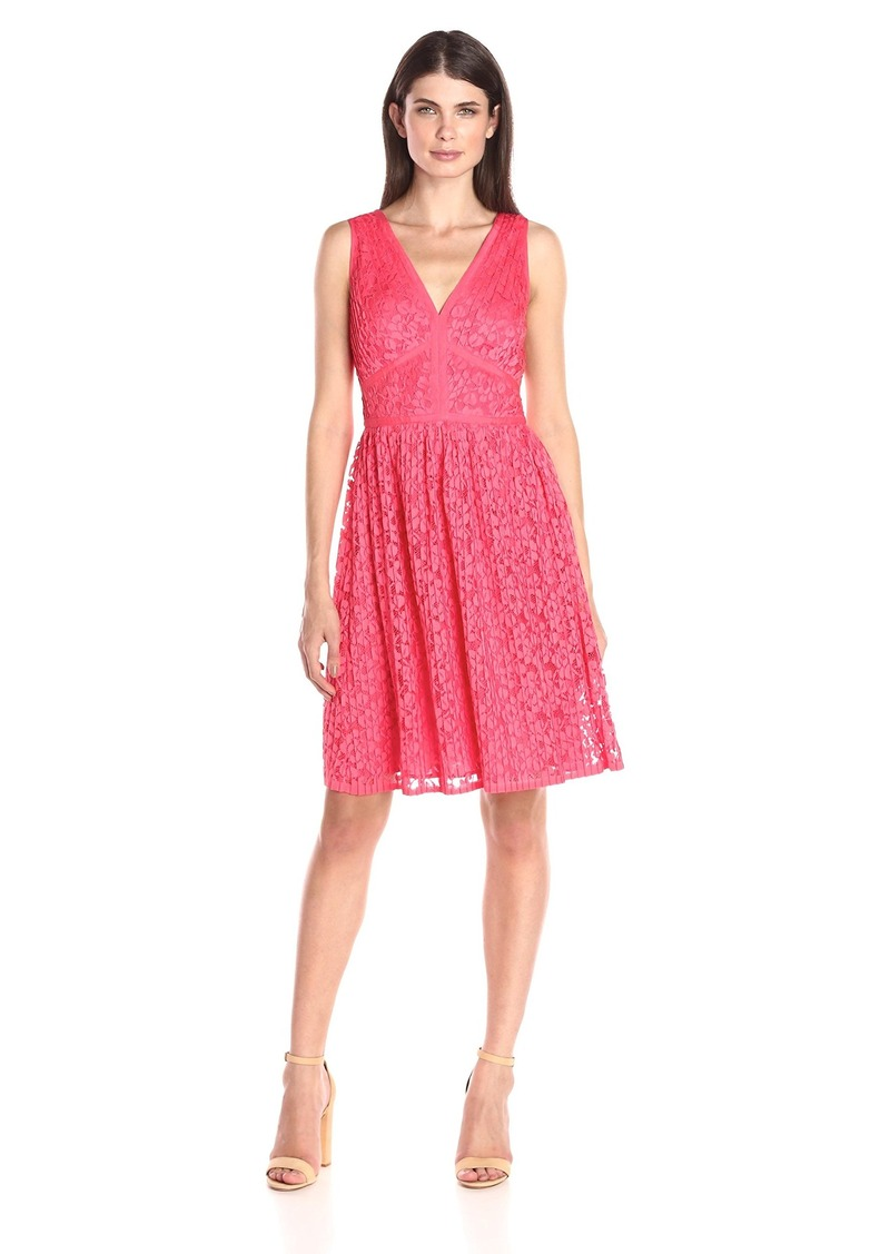 Maggy London Women's Pleat Floral-Lace Fit-and-Flare Dress