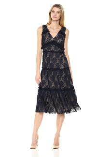 Maggy London Women's Pleat Lace Tiered Cocktail Dress