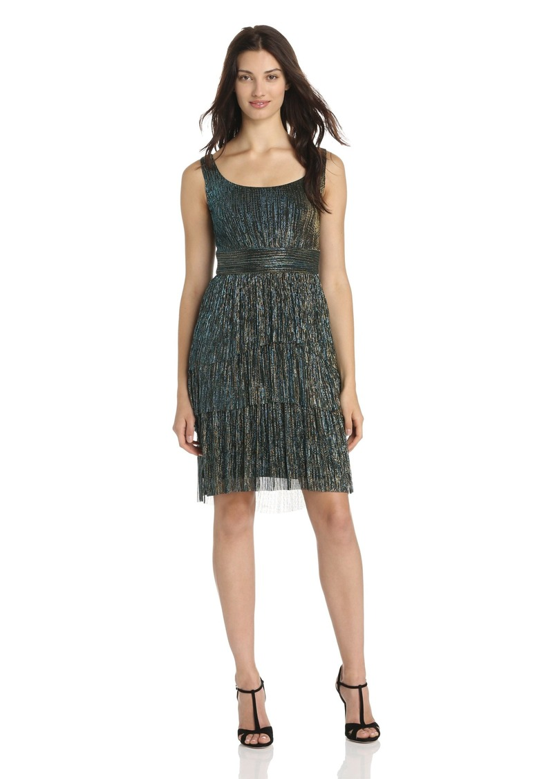 Maggy London Women's Pleated Metallic Tier Dress