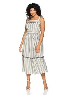 Maggy London Women's Plus Size Novelty Maxi Dress pom Trim  14W