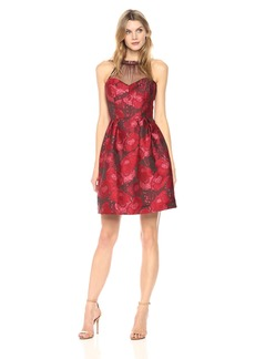 Maggy London Women's Poppy Jacquard Fit and Flare with Mesh Illusion Yoke
