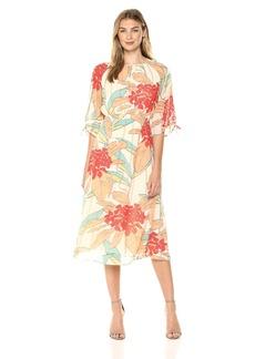Maggy London Women's Print Chiffon Novelty Clip dot Dress