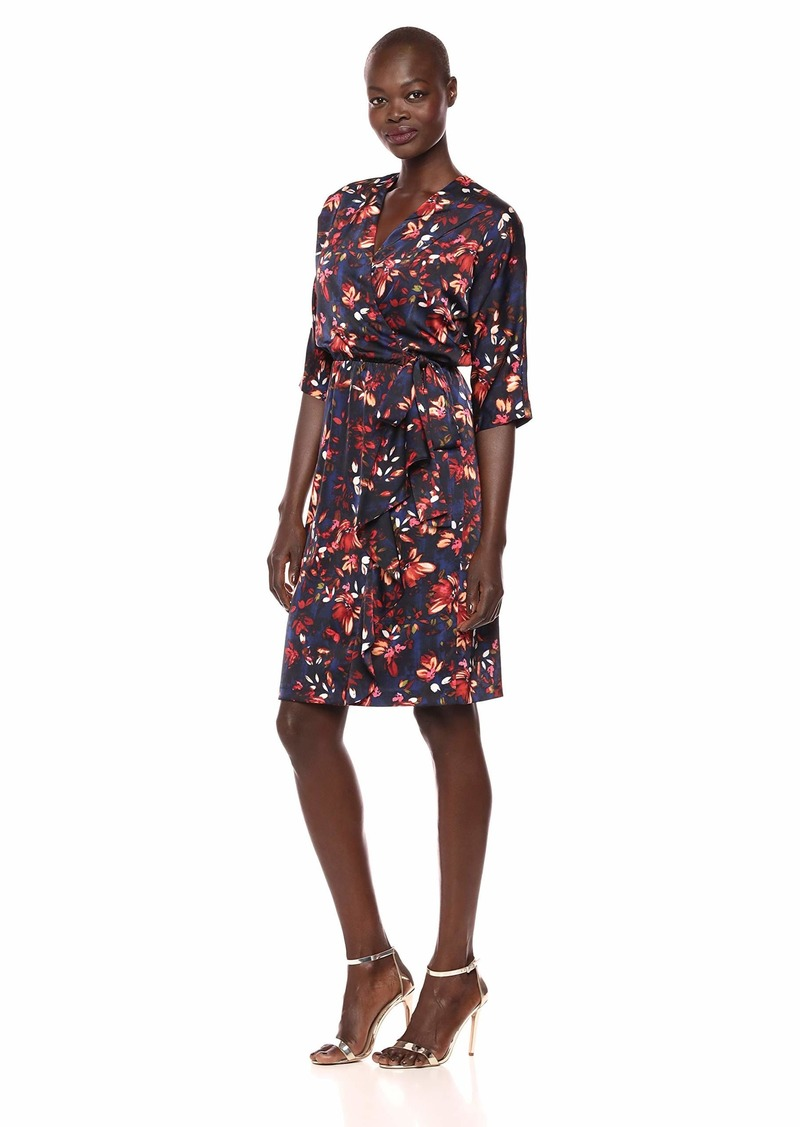 Maggy London Women's Printed charemuse wrap Style Dress with Side Cascade