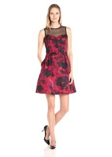 Maggy London Women's Printed Floral Texture Fit and Flare