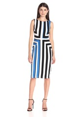 Maggy London Women's Printed Jersey Graphic Square Sleeveless Sheath