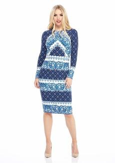 Maggy London Women's Printed Jersey Long Sleeve midi Sheath