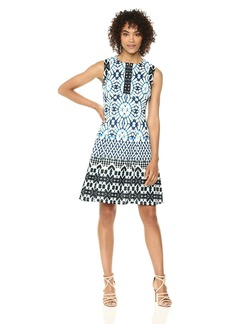 Maggy London Women's Printed Scuba Fit and Flare Dress