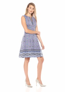 Maggy London Women's Printed Scuba Split Neck fit and Flare