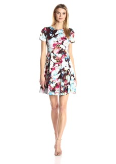 Maggy London Women's Printed Scuba Watercolor Posie Fit and Flare