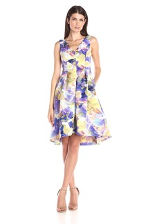 Maggy London Women's Rainbow Haze Floral Faille Fit-and-Flare Dress