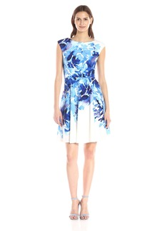 Maggy London Women's Rosey Peony Printed Scuba Fit-and-Flare Dress