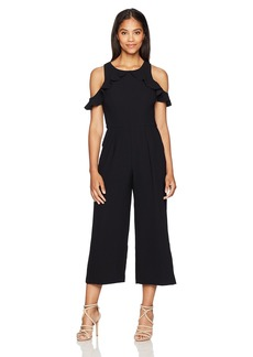 Maggy London Women's Ruffle Cold Shoulder Cropped Jumpsuit